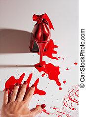 crimen, zapato, escena
