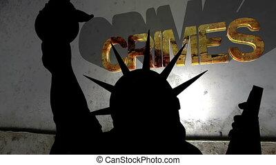 crimes, contre, concept, statue, liberté, fond