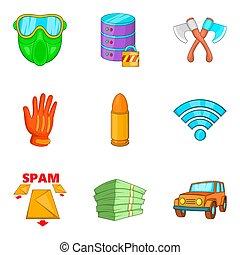 Criminal act icons set, cartoon style - Criminal act icons...