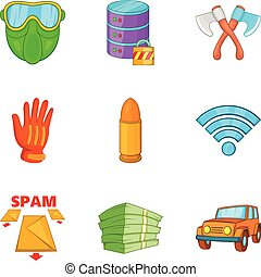 Criminal act icons set, cartoon style - Criminal act icons...