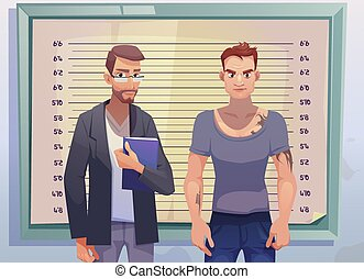 Criminal and lawyer on measuring height scale