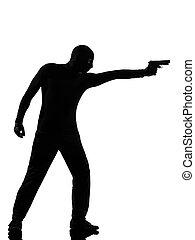 criminal, arma, ladrão, terrorista, apontar, homem