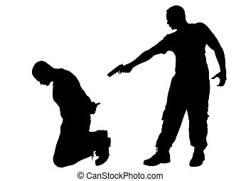 Criminal arrest - Vector drawing of a criminal arrest