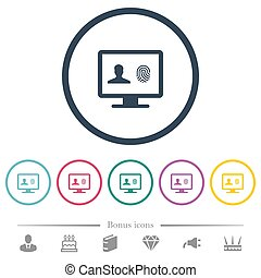 Criminal background check flat color icons in round...