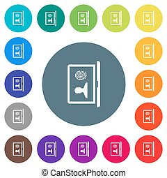 Criminal background check flat white icons on round color backgrounds