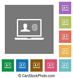 Criminal background check square flat icons