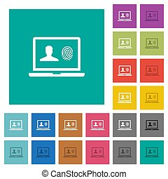Criminal background check square flat multi colored icons -...
