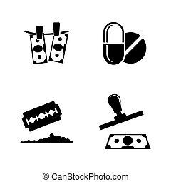 Criminal Business, Drug Trafficking. Simple Related Vector...