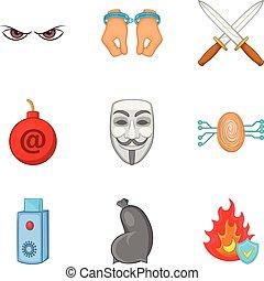 Criminal conduct icons set, cartoon style - Criminal conduct...