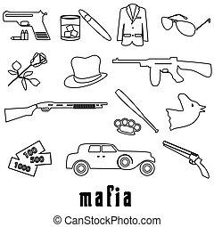 criminal, conjunto, eps10, contorno, iconos, símbolos, negro, mafia