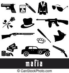 criminal, conjunto, eps10, iconos, símbolos, negro, mafia