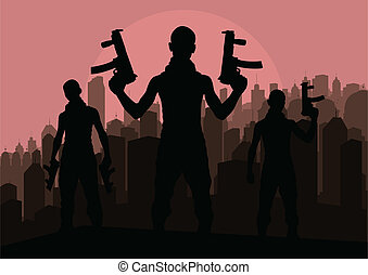 Criminal danger vector background people - Criminal danger...