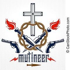 Criminal gangster dramatic emblem or logo with Christian...