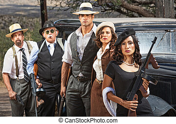 Criminal Gangsters with Weapons - Female criminal with group...