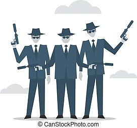 Criminal group of people, mafia bad guys
