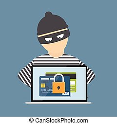 Criminal Hacker, Concept of Fraud, Cyber Crime. Vector Illustration