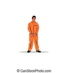 Criminal in orange robe. Vector Illustration.