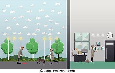 Criminal investigation vector illustration in flat style
