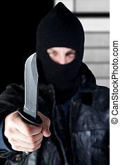 criminal, joven, cuchillo