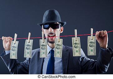 Criminal laundering dirty money