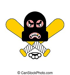 Criminal logo. Robber sign. brass knuckles and baseball bat....