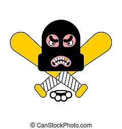 Criminal logo. Robber sign. brass knuckles and baseball bat....
