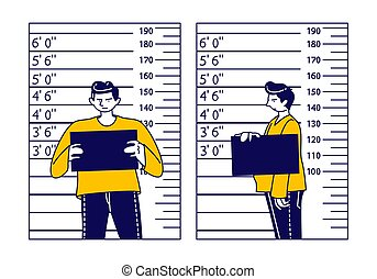 Criminal Male Character Stand on Measuring Scale Background with Mug Shot Plate in Hands in Police Station. Arrested Man Gangster Posing for Identification Mugshot Photo. Linear Vector Illustration