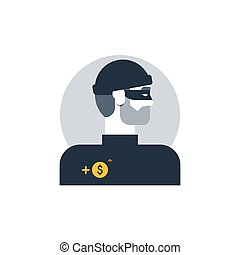 Criminal man side view, thief turned head, outlaw person