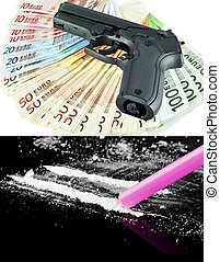 Criminal money and drugs concept