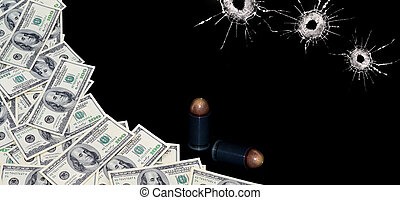 money, bullets and bullet holes on the blak background
