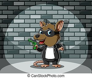 The illustration of the criminal mouse standing and holding the green gun