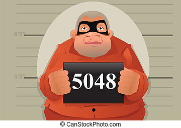 A vector illustration of a criminal mug shot