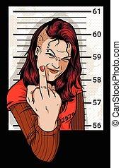 Criminal Mug Shot - Girl photographed for a criminal case....