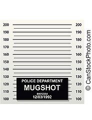 Criminal mug shot line. Police mugshot add a photo. Blank criminal police lineup with centimeter scale for photograph. Vector illustration