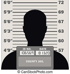 Criminal mugshot, front view of suspect silhouette, with measuring scale, vector illustration