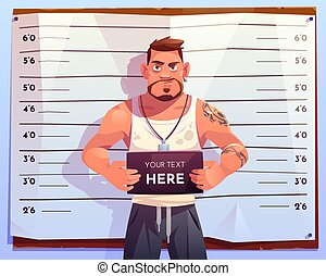 Criminal mugshot front view on measuring scale background in...
