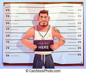 Criminal mugshot front view on measuring scale