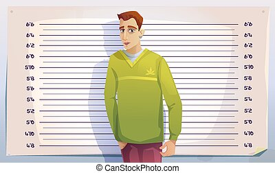 Criminal mugshot in police or prison. Photo of arrested man on scale of height background. Vector cartoon illustration of mug shot of gangster, drug dealer or thief