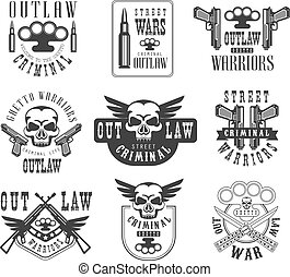 Criminal Outlaw Street Club Black And White Sign Design Templates With Text And Weapon Silhouettes