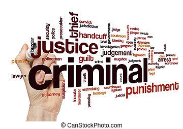 criminal, palabra, nube, concepto