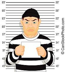 Criminal photo beside wall - Criminal photo Caught criminal...