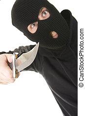 criminal - crazy evil criminal wearing balaclava with a...