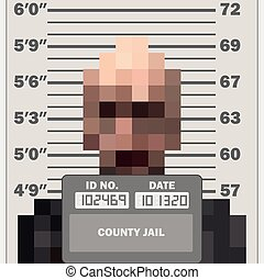 Criminal mugshot, front view of pixelated suspect, with measuring scale, vector illustration