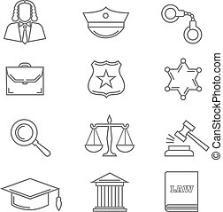 Criminal police law and justice vector thin line icons