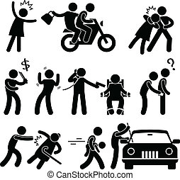A set of pictograms representing criminal, robber, burglar, kidnapper rapist, and thief.