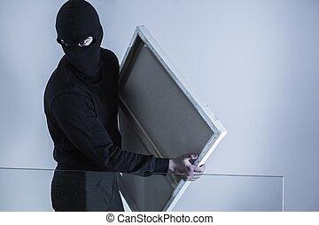 criminal, roubado, mascarado, segurando, quadro
