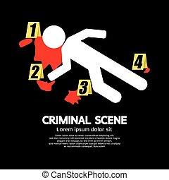 Criminal Scene. - Criminal Scene Vector Illustration.