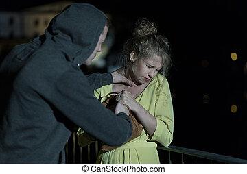 Criminal strangling woman - Dangerous criminal strangling...