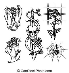 Criminal tattoo. Rose in hands of knife behind bars, spider and skull