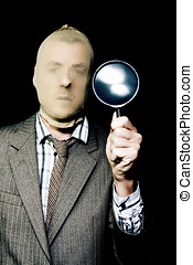 Criminal with magnifying glass